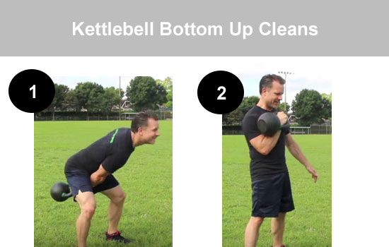 kettle bell bottom up cleans
