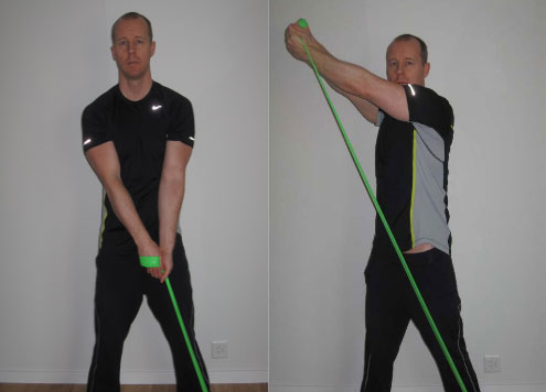 reverse woodchop flexband exercise