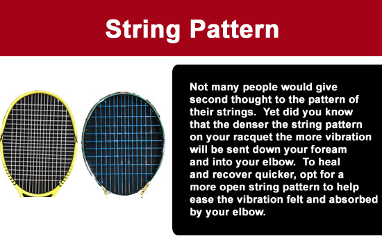 tennis racquet string pattern elbow