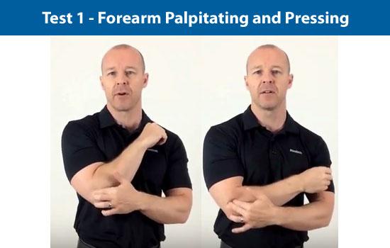 forearm palpitating test