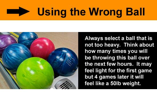 wrong size bowling ball